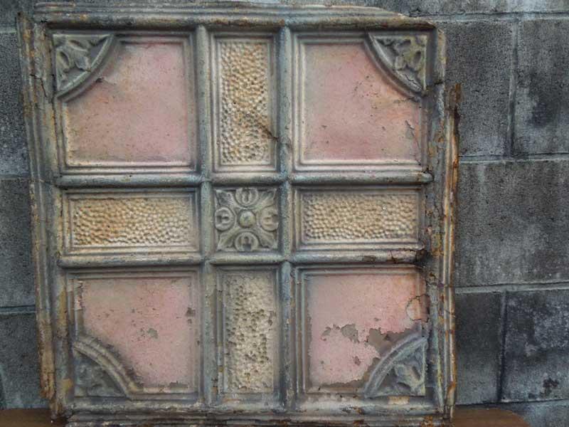 Antique 19世紀後半、1800年代後半 ヨーロッパのテキスタイル柄のブリキの看板3