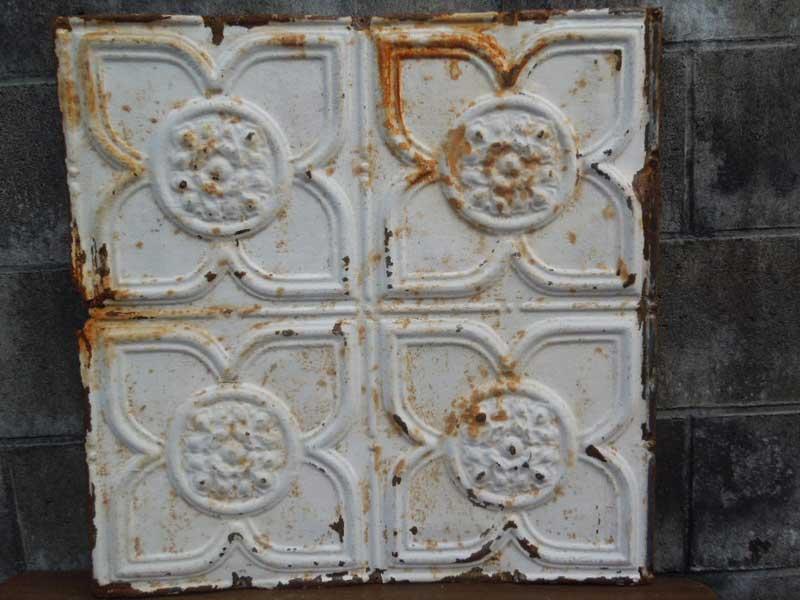 Antique 19世紀後半、1800年代後半 ヨーロッパのテキスタイル柄のブリキの看板4